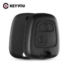 KEYYOU-carcasa de repuesto para llave de mando a distancia de Toyota, carcasa de 2 botones en blanco para Peugeot 107, 206, 207, 306, 307, 407, Citroen C1, C2, C3