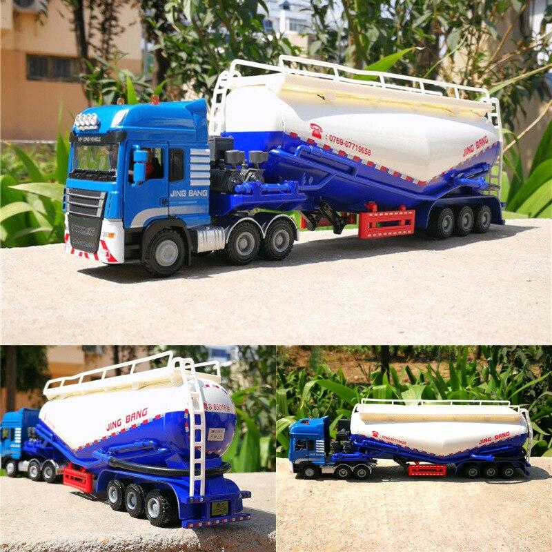 Semi-trailer Tank Truck Powder Transporter Cement Truck Alloy Transporter Model 1:50 Toys Children Pull Back Toys