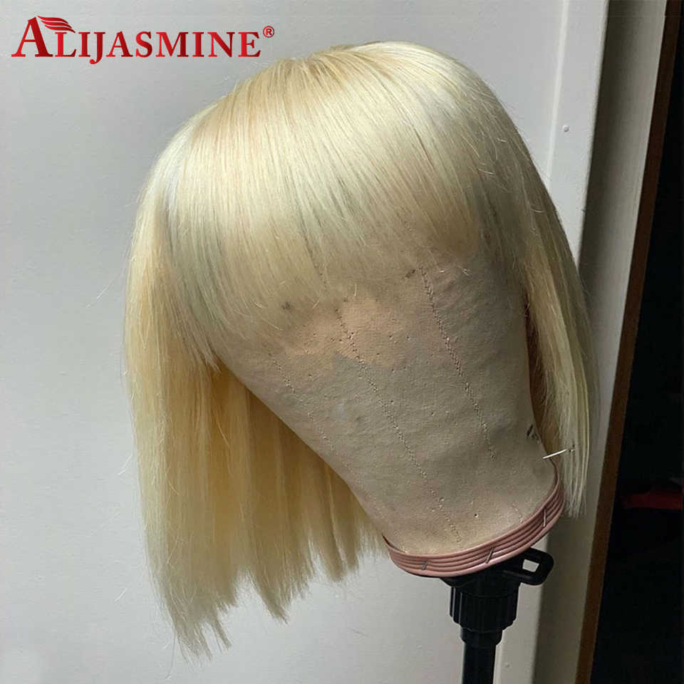 613 blond Bob peruka z Bang 150 gęstości brazylijski Remy krótki Bob Bang peruki dla czarnych kobiet 13X4 ludzkich włosów peruki z Bang