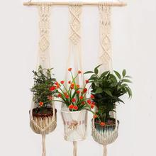 Get more info on the Macrame Plant Hanger Indoor Outdoor Hand Knit Hanging Planter Wood Stick Basket Wall Art