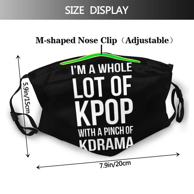 Kpop Lot Mouth Face Mask A LOT OF KPOP BLACK Facial Mask with 2 Filters for Adult Cool Polyester Mask 1