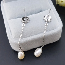 Natural Pearl silver 925  earrings Trendy Cubic Zircon Snowflake Ball for 2019 wedding party women
