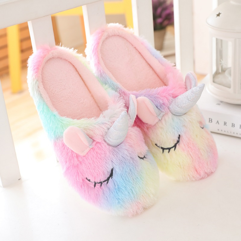 New Unicorn Comfort Ladies Open Toe Unicorn Slippers White// Multi Colours
