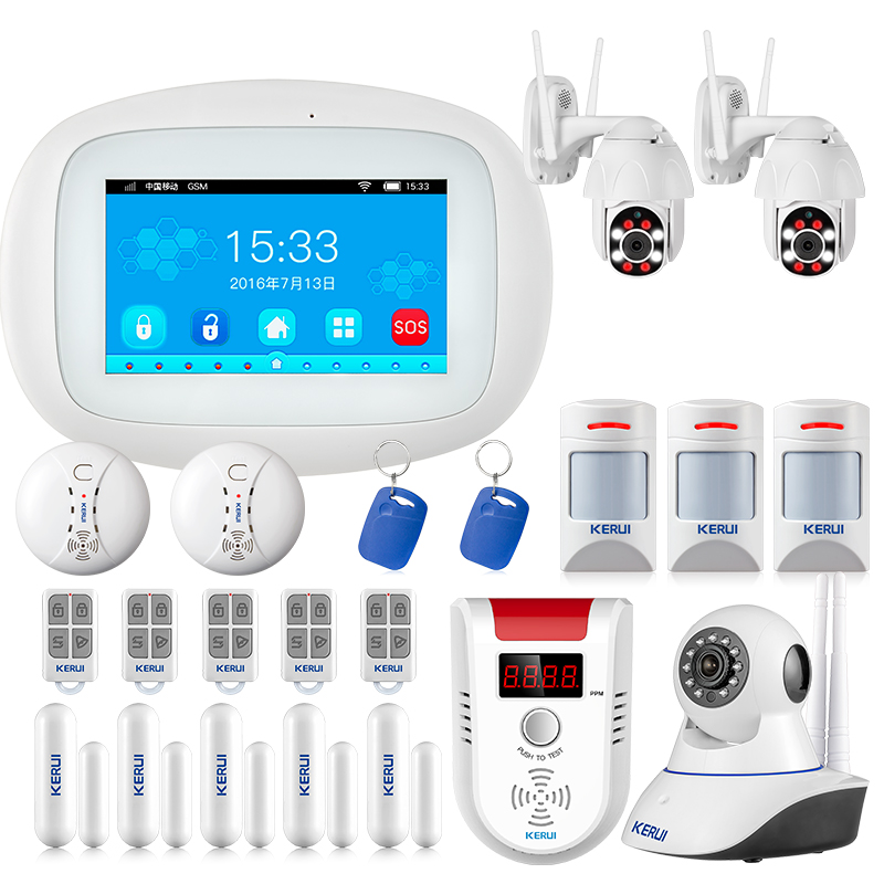 KERUI K52 4.3 Inch TFT Color Display Security Home Smart Residential Wireless Burglar WIFI GSM Alarm Systems Panel  Alarm Kit