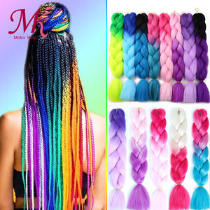 Jumbo Hair Braiding-Hair Synthetic-Hair Afro Colored-Strands False Blue African Ombre