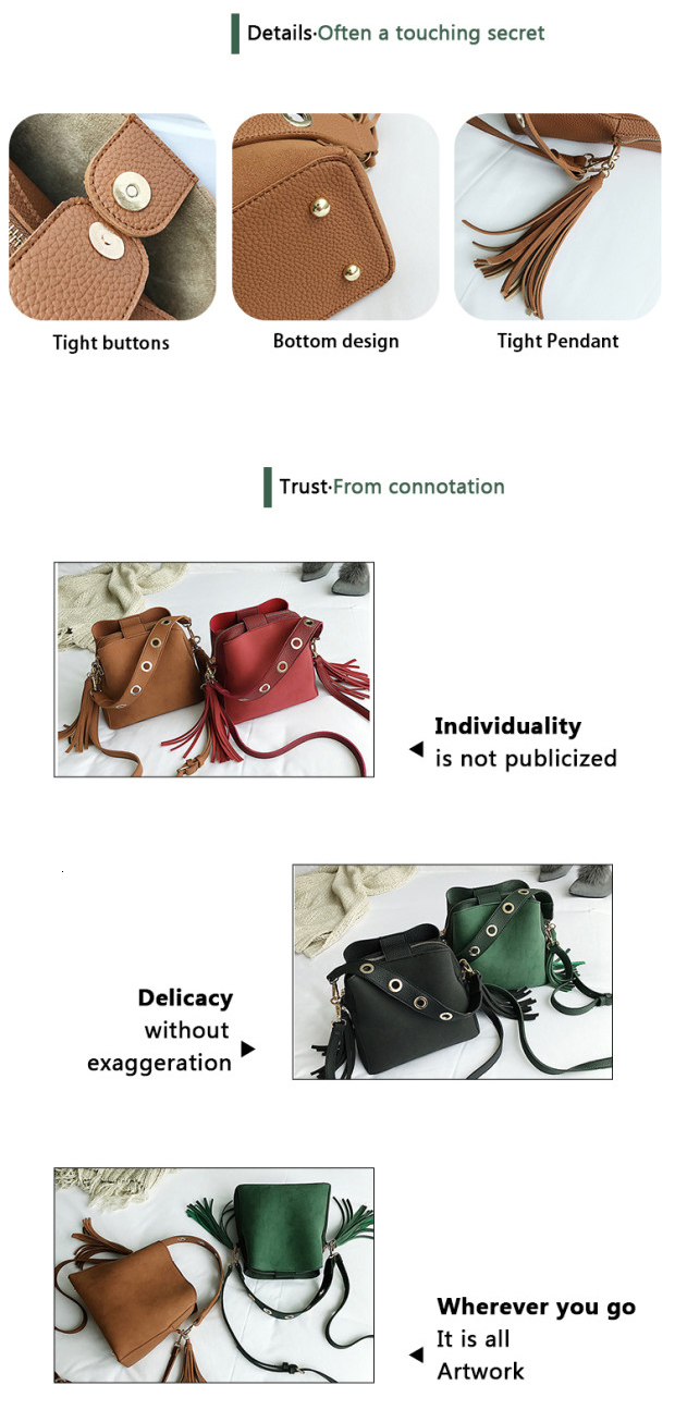 Fashion Scrub Women Bucket Bag Vintage Tassel Messenger Bag High Quality Retro Shoulder Bag Simple Crossbody Bag Tote 1