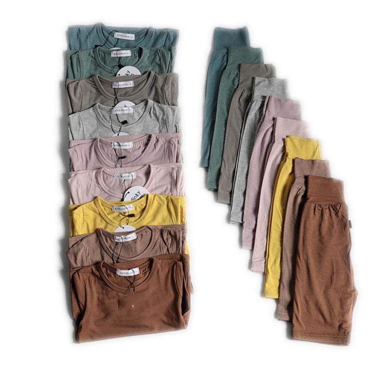2020 2Pcs/Set Toddler Kids Nightgown Children Girl Boy Infant Casual Sleepwear Robe Nightwear Home Thermal Pajama Sets Summer