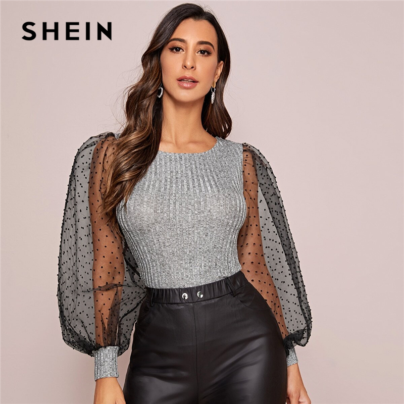 SHEIN Grey Contrast Mesh Lantern Sleeve Ribbed Knit Glamorous Tee Women Tops 2020 Spring Colorblock Sheer Elegant Lady T-shirts