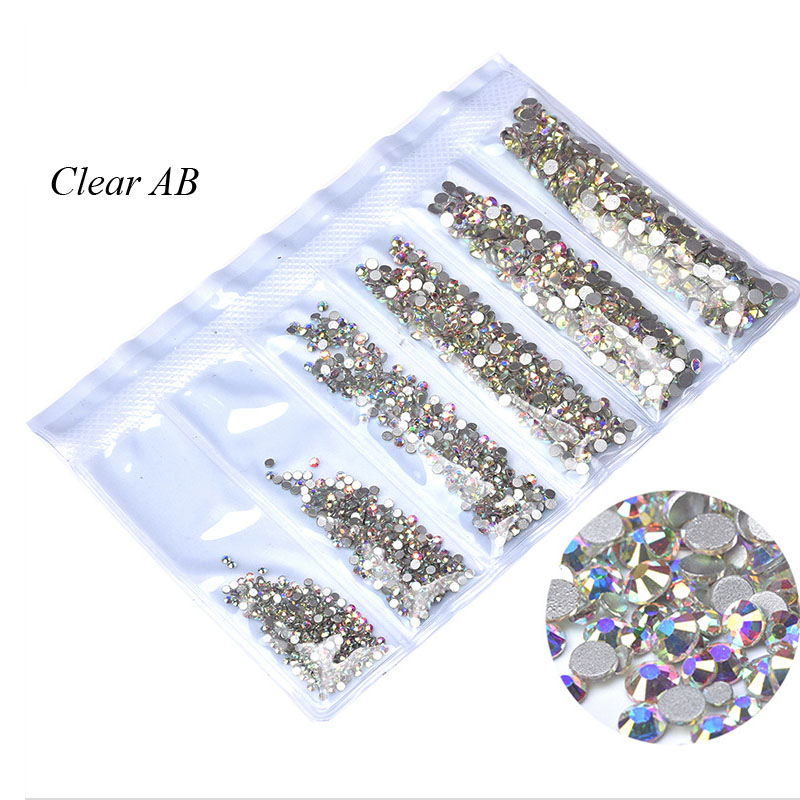 Swarovsky 1440Pcs Flatback Glass Nail Rhinestones Mixed Sizes SS4-SS50 Clear AB Nail Art Decoration Stones Manicure Accessories