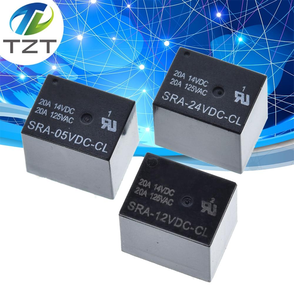 50PCS Power relays SRA 05VDC CL SRA 12VDC CL SRA 24VDC CL 5V 12V 24V 20A 5PIN T74 5PIN CMA51 HFKW DC Mini Power Relayrelay dcdc dcrelay 20a -