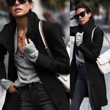 Autumn Jacket Casual Women New Fashion Long Woolen Coat Single Breasted Slim Type Female Winter Wool Coats Outerwear Overcoat 3