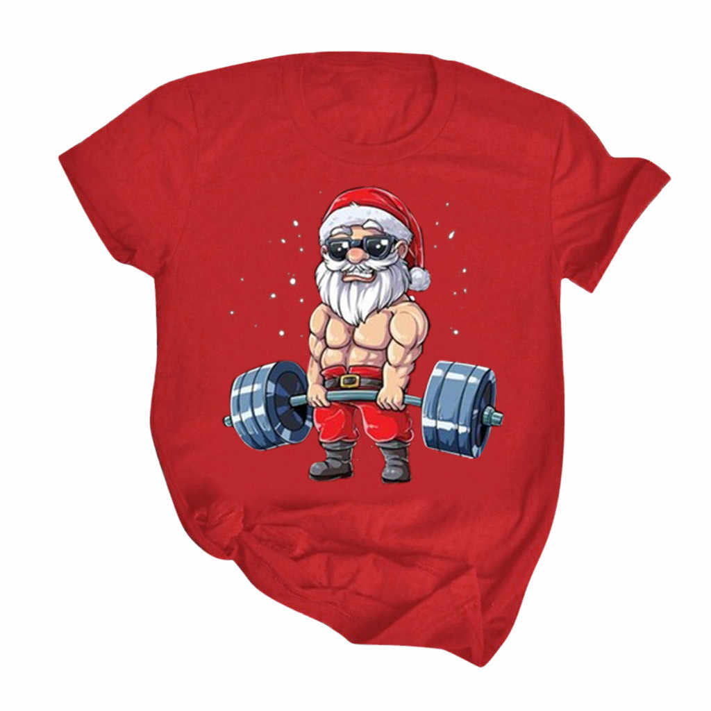 Tshirt kobiety moda z krótkim rękawem okrągły kołnierz Santa prezent drukuj świąteczne topy koszulka Poleras Camiseta Mujer Top kobiety T Shirt
