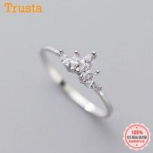 Trustdavis Real 925 Sterling Silver Simples Linda Delicada Coroa DA1654 Dazzling CZ Casamento Anel de Dedo Para As Mulheres 925 Jóias