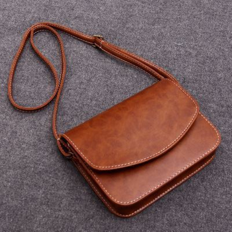 Retro College Women Bag PU Leather Shoulder Bags For Women 2020 Fashion Solid Pattern Shoulder Messenger Bag Ladies Flap Handbag