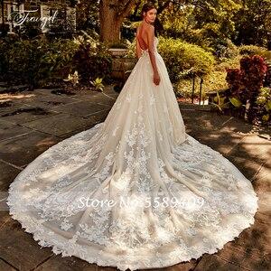 Image 2 - Traugel מתוקה קו תחרה חתונה שמלת מבריק אלגנטי Applique ואגלי שרוולים ללא משענת ארוכה רכבת כלה שמלה בתוספת גודל