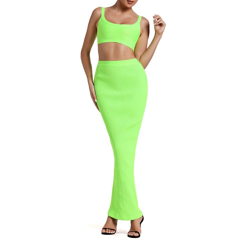 Ocstrade 夏包帯 2 個セット 2019 新到着の女性のネオン緑包帯ドレスボディ包帯ドレスパーティー  グループ上の レディース衣服 からの ドレス の中 3
