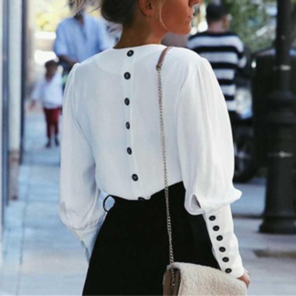 WENYUJH Puff Luva Mulheres Blusa Botão de Camisa Branca V Pescoço Encabeça Primavera 2019 Graciosa Lady Escritório Streetwear Blusas Camisas Das Mulheres