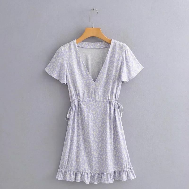 New 2020 Women Elegant V Neck Flower Print Hem Ruffles Mini Dress Female Short Sleeve Lace Up Vestido Chic A Line Dresses DS3816