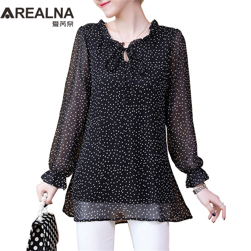 Plus Size Long Sleeve Ruffle Chiffon Blouse Women Casual Polka Dot Shirt With Bow Fashion Womens Tops And Blouses Blusas Mujer