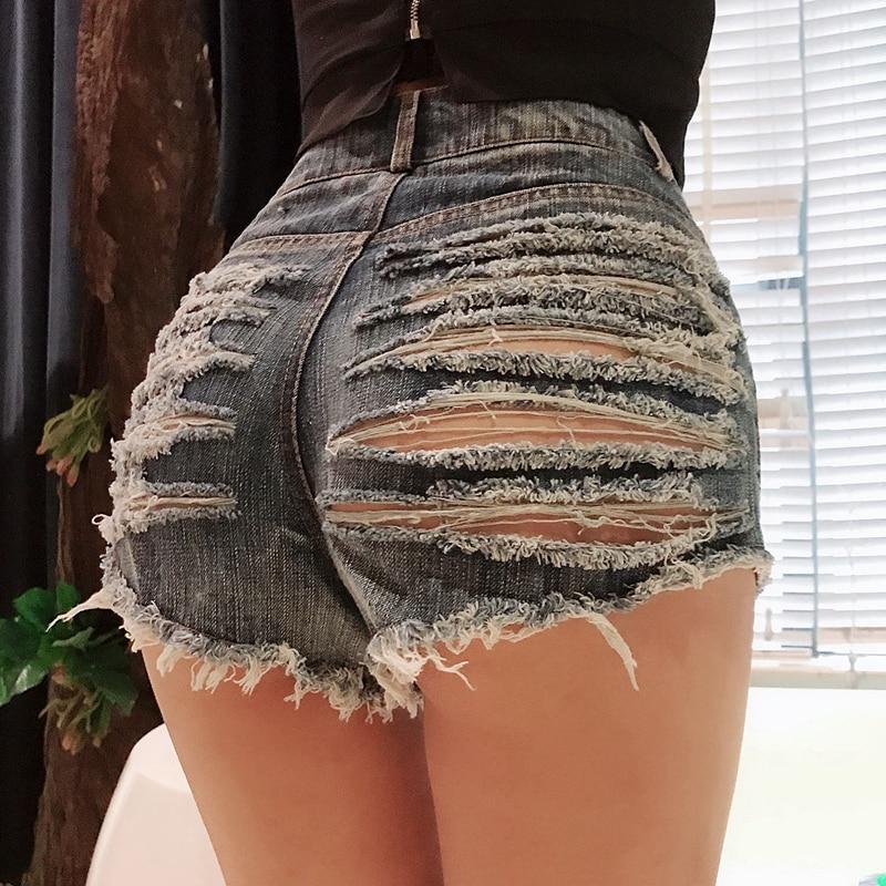 Women Sexy Ripped Holes Casual Mini Short Jeans Booty Shorts Cute Bikini Denim Shorts Hot Thong Club Party Bikini Bottom Shorts