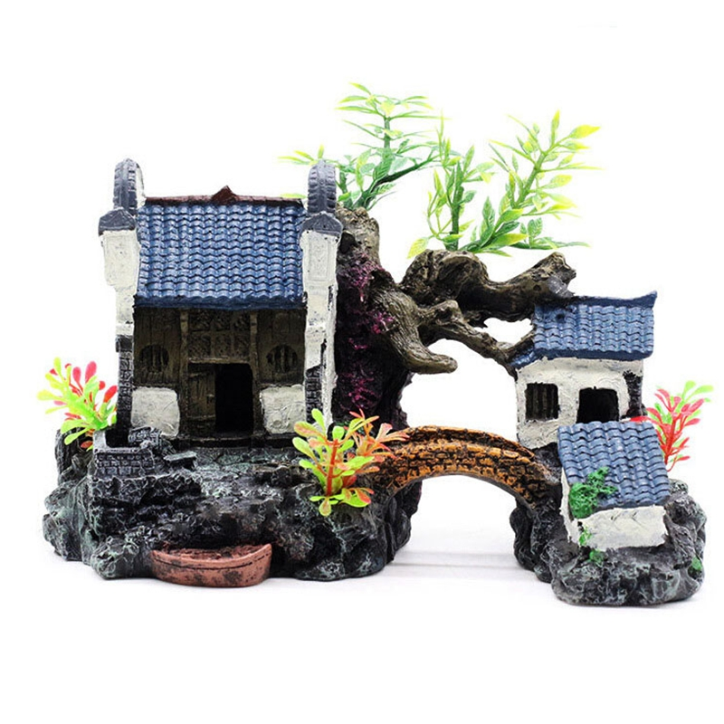 Fish Tank Aquarium Landscaping Rockery Aquarium Decoration Landscaping Resin House Aquarium Decoration Accessories
