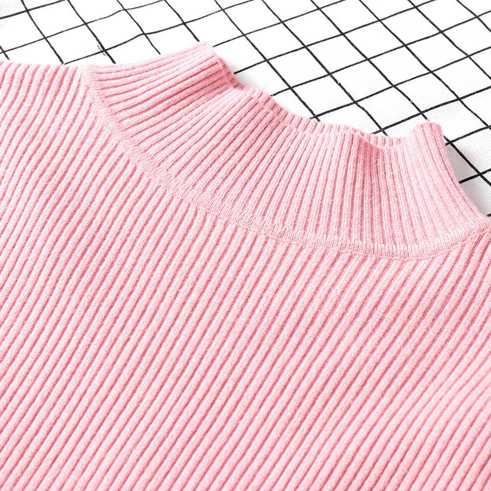 Chaud automne hiver femmes couleur unie Slim col roulé pull tricoté élastique pull