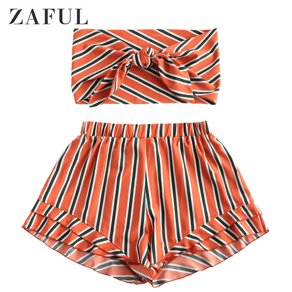 ZAFUL Summer Women Knotted Bandeau Top And Shorts Set Striped Tie Front Sleeveless Top Set Women Two Piece Set Vacation