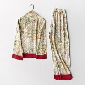 Image 5 - אביב חדש מזדמן ארוך שרוול סאטן פיג מה סט ירוק דשא הדפסת הלבשת Loungewear נשים תורו למטה צווארון פיג מה Mujer