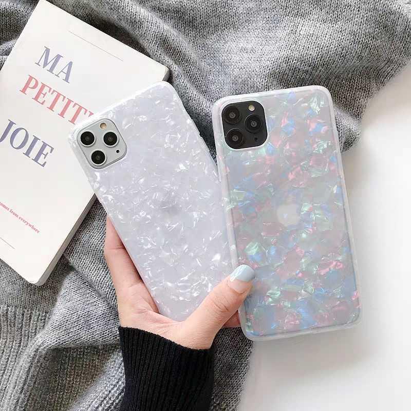 สำหรับ iPhone X 10 11 Pro XR XS สูงสุด 8 7 6 6 S PLUS SE 2020 Glitter รูปแบบเชลล์ bling Clear ซิลิโคน TPU ฝาครอบโทรศัพท์ Capa