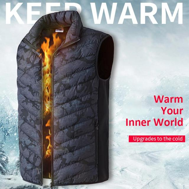 Winter Smart Self-heating Vest Cotton-padded Clothes Solid Color Sleeveless Vest Men's USB Charging Plus Velvet Jacket Men's 1