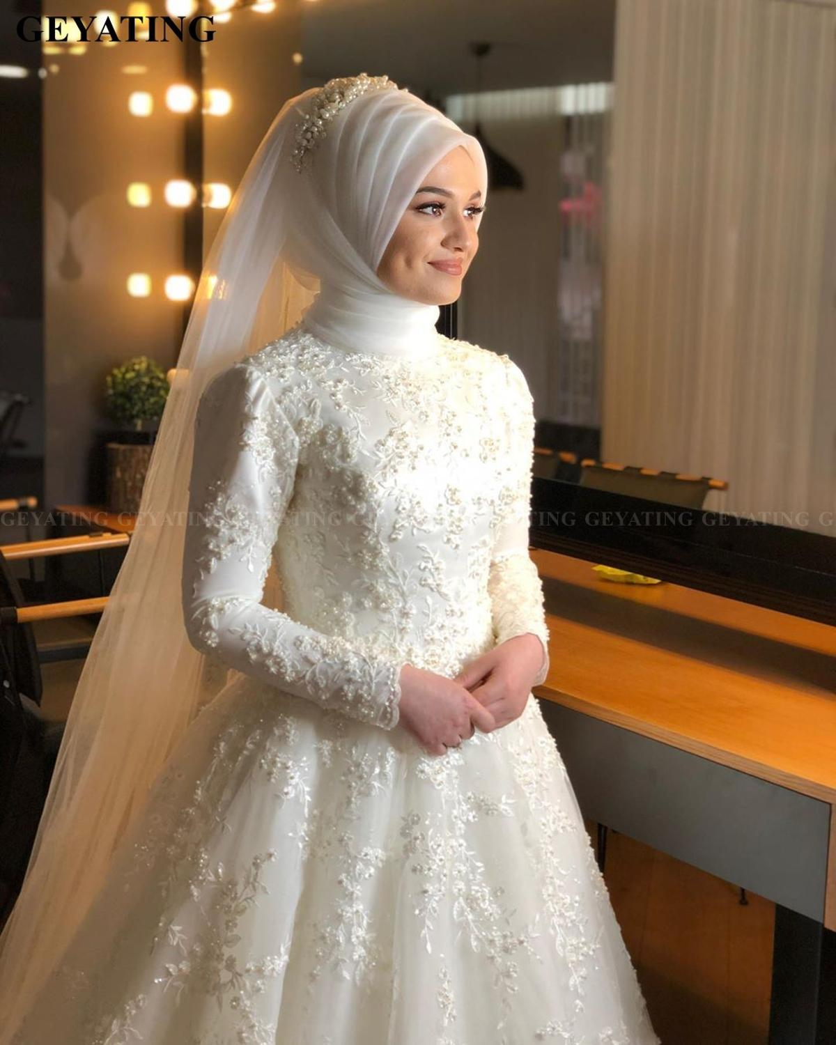Image 4 - 2020 Elegant Off White Islamic Muslim Wedding Dress with Hijab Long Sleeves High Neck Pearls Lace Arabic Bridal Gowns in Dubai-in Wedding Dresses from Weddings & Events