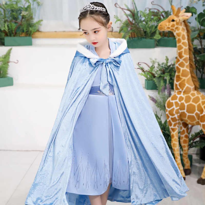 Новое платье Анны и Эльзы (Анна и Эльза), 2 платья Рождественский комплект принцессы для девочек, маскарадный костюм для дня рождения, платье принцессы Эльзы небесно-голубого цвета с длинными рукавами