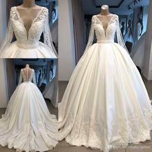 Dubai Arabic Luxury V neck Wedding Dress 2019 Long Sleeve Sheer Back Bridal Gown
