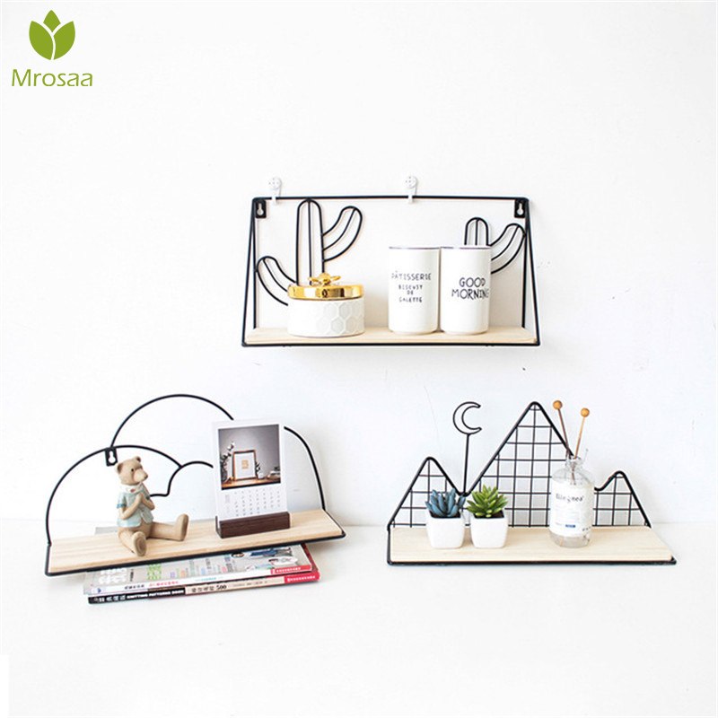 Nordic Style Metal Decorative Shelf Cactus Mountain Storage Holder Rack Shelves Home Wall Decor Potted Ornament Holder Rack