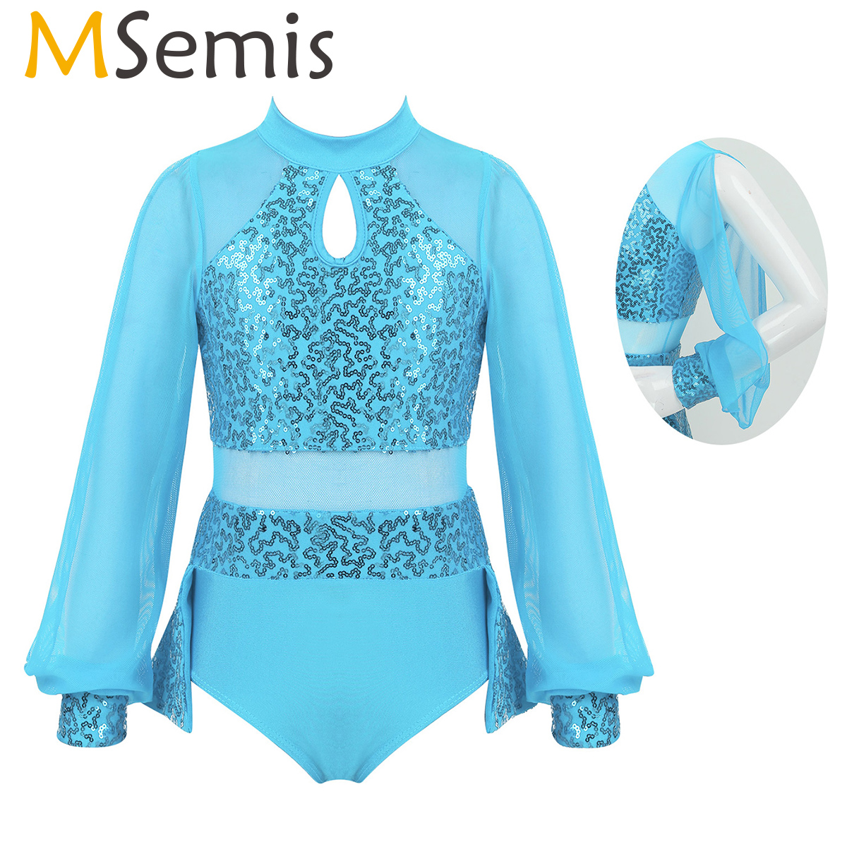 MSemis Kids Toddler Girls Ballroom Dance Costume Competition Dresses Split Sequins Ice Figure Skating Dress Gymnastics Leotard