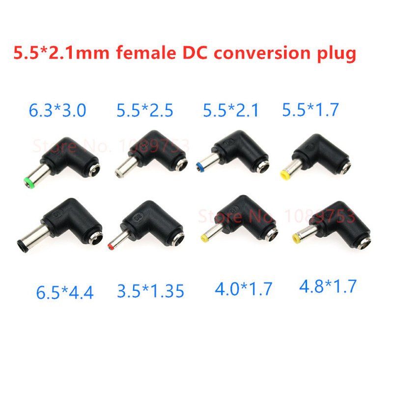 5PCS Multi-function power <font><b>adapter</b></font> DC Plug 5.5*2.1 <font><b>to</b></font> 6.5/<font><b>6.3</b></font>/4.8/4.0/<font><b>3.5</b></font>/2.5/2.1MM 90 Degrees male female Connectors image