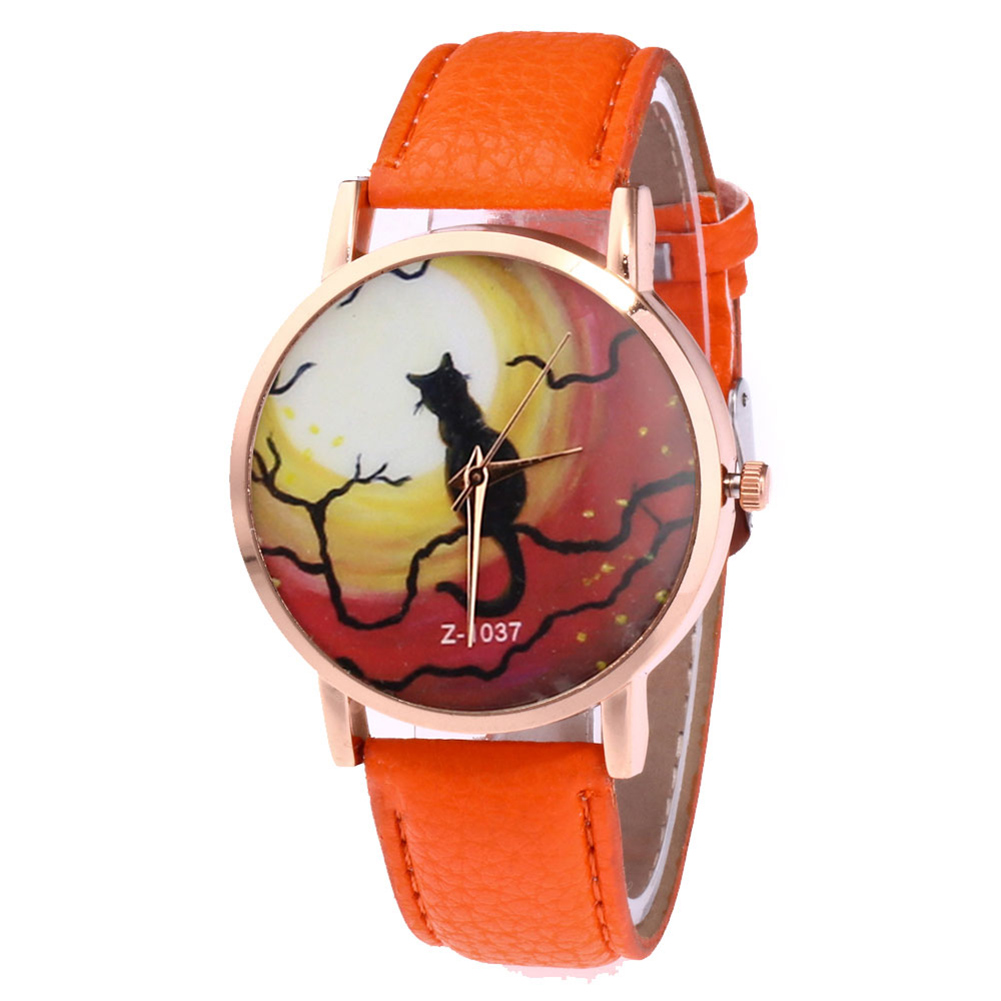 Couple Watch Quartz Watch Round Dial Watches Faux Leather Strap Durable Fashion Cartoon Cat Printing Watches LL@17