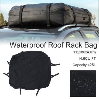 112x86x43cm Cargo Luggage Travel Bag Car Roof Cargo Bag Car Top Carrier Side Rail Rack Cross Bar Waterproof Travel Luggage Pouch image