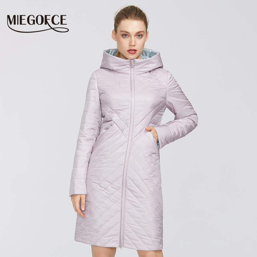 MIEGOFCE 2020 Designer Spring Womens Cotton Jacket With Zipper And Mid-Length Resistant Hooded Collar Female Raincoat Windproof