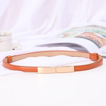 Belt dress simple versatile  Fashion Women Leather Belt Thin Skinny Metal Gold Elastic Buckle Waistband Belt Dress Accessories 6