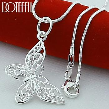 DOTEFFIL 925 Sterling Silber Schmetterling Halsketten Anhänger Für Frauen Elegante Schmetterling 18 inch Snake Kette Halskette Schmuck