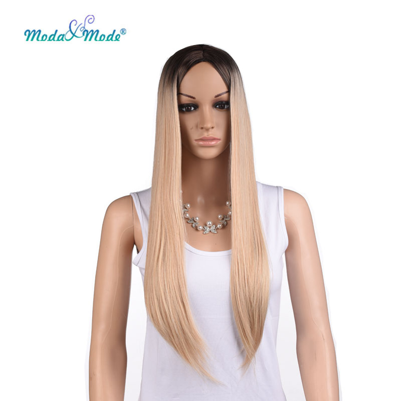 Moda&Mode Long Straight\Wave Synthetic Wig Ombre Blond Wig can be Cosplay Black Root Blue Red Gray Pink Colorful Wig