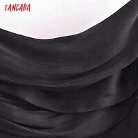 Tangada Women's Party Dress Fashion Black Pleated Dresses Backless Female Long Dress 3H793 2