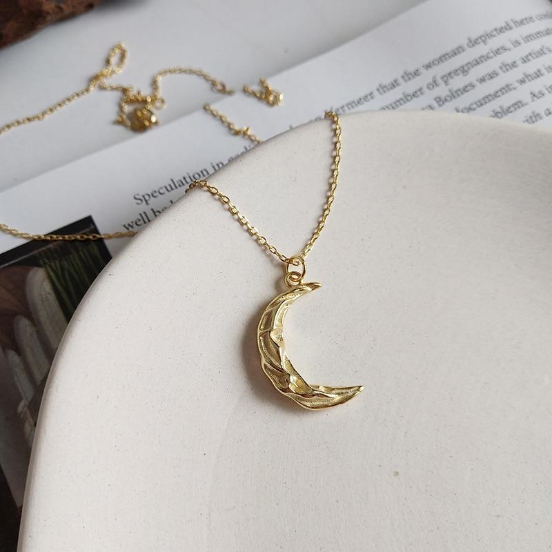 GHIDBK S925 Silver Star Moon Cubic Zirconia Pendant Necklaces Minimalist Charming Starburst CZ Chokers Statement Collars Choker