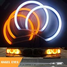 Yellow White Cotton Light angel eyes halo ring kit for BMW E46 (1998-2001) Vorfacelift headlight kits no error 4x146mm car lamp цена 2017