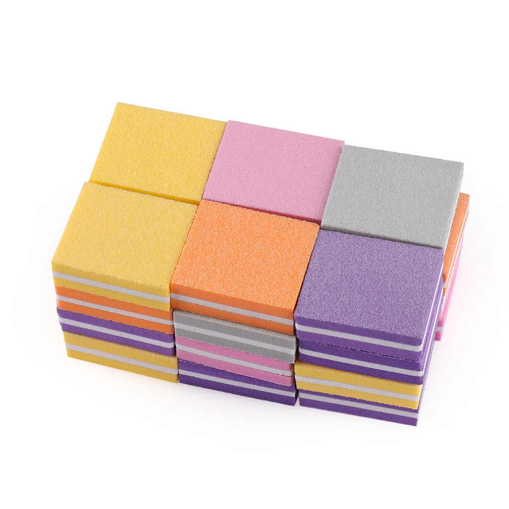 1PC Hoge Elastische Spons Candy Kleur Dubbelzijdig Mini Nail Polijstmachine Fijn Schuren Polijsten Blok Nagelvijlen Manicure trim Gereedschap