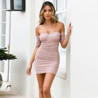 Hot style dress European and American sexy breast wrap word collar mesh patchwork drape dress Free Shipping