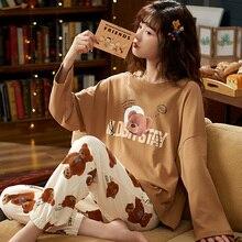 M L XL XXL 3XL 4XL 5XL 긴 소매 여성 잠옷 잠옷 100% 코튼 잠옷 세트 가을 잠옷 여성 잠옷