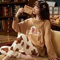 M L XL XXL 3XL 4XL 5XL с длинным рукавом для женщин Ночная рубашка; одежда для сна из хлопка, комплекты одежды для сна осень пижамы для женщин