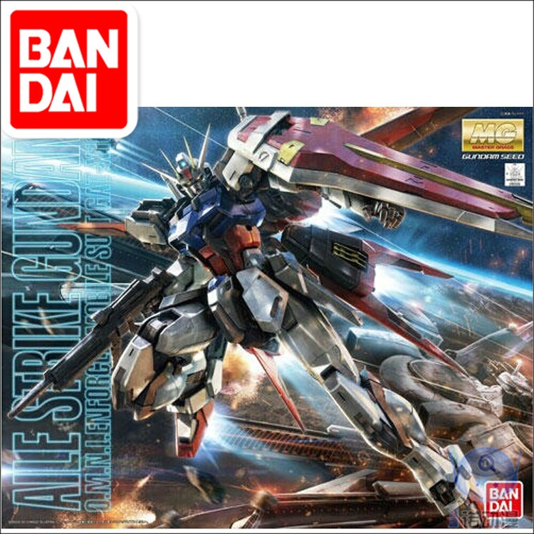 Japaness BANDAI Original Gundam MG 1/100 Model Aile Strike SEED DESTINY Mobile Suit Kids Toys With Holder